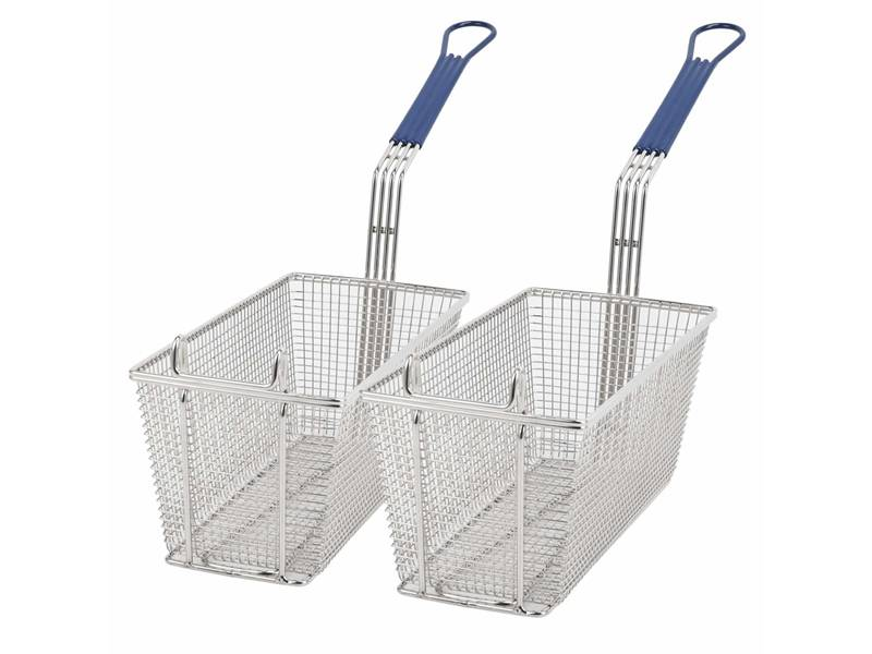 Two rectangle fry baskets both with handles.