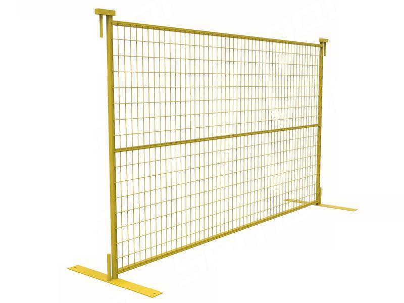 A yellow Canada portable fence with horizontal square pipe and feet.