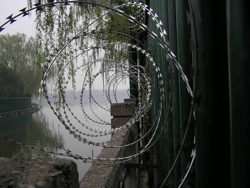 Razor wire directly installed on the brick wall of one garden.