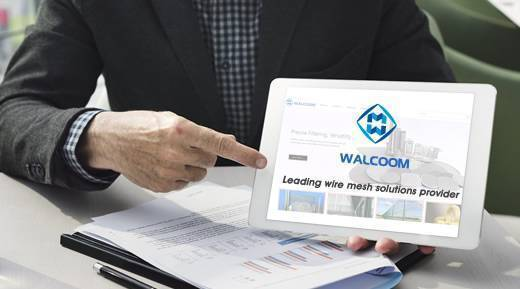 One businessman is surfacing the internet, browsing the web of Walcoom Corporation.